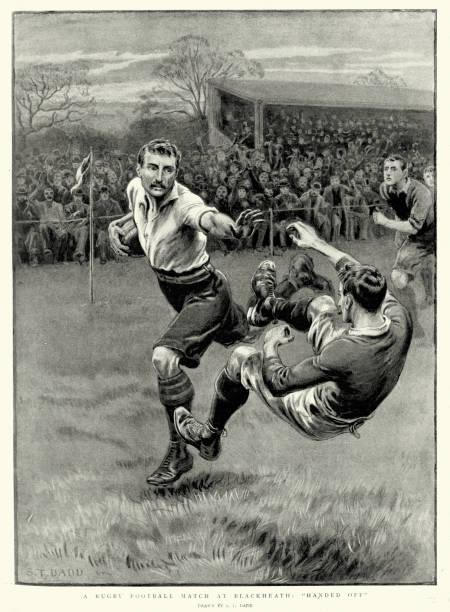 illustrations, cliparts, dessins animés et icônes de victorian chemise de rugby match de football à blackheath, 1897 - rugby