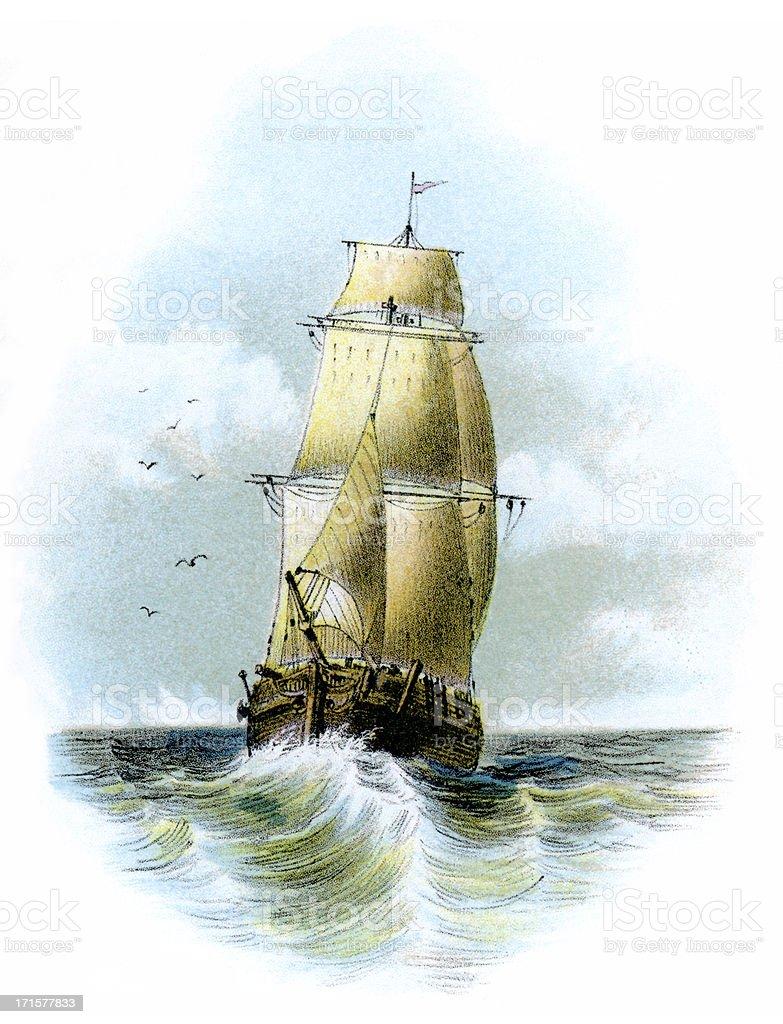 Victorian sailing ship at sea vector art illustration