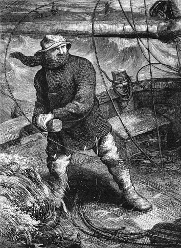 Victorian sailor at the tiller of a sailing ship in a storm