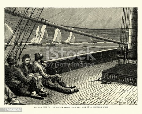 Vintage engraving of Running free to the Nore, Sketch from the deck of a competing yacht. 1870s. 19th Century.