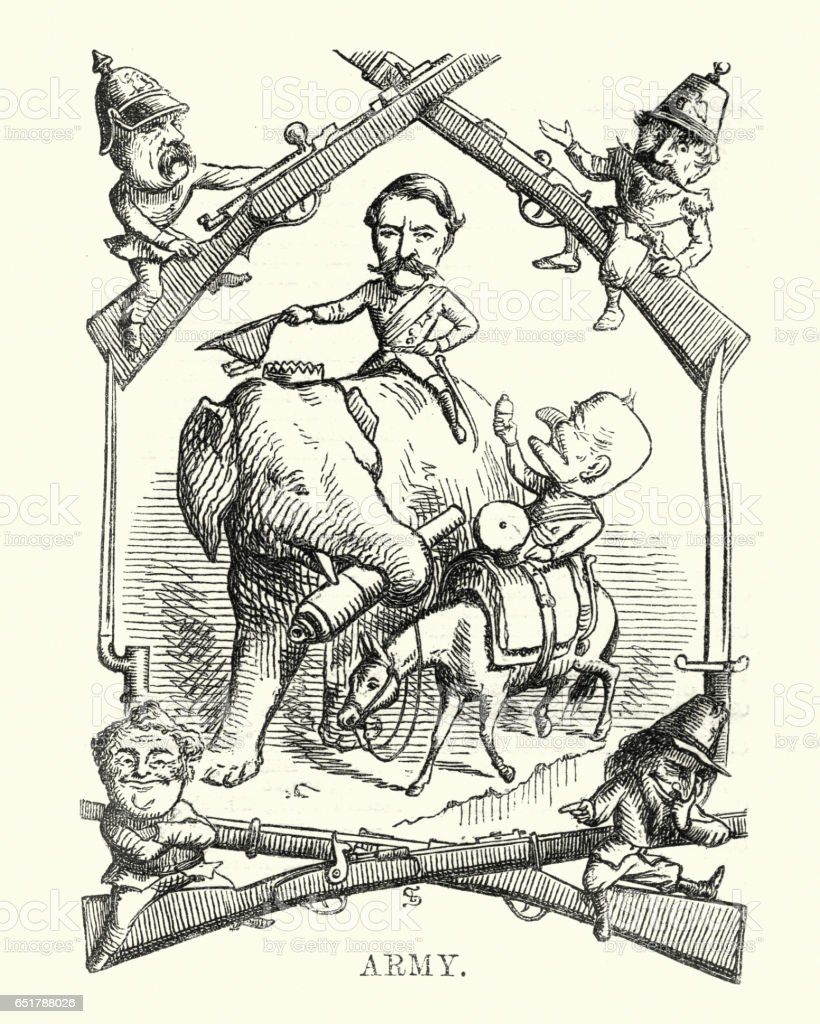 Victorian satirical cartoon about the British Army vector art illustration