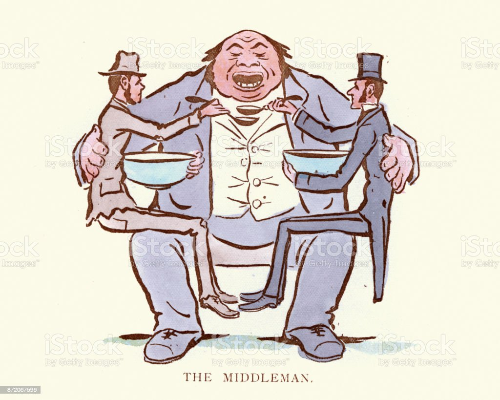 Victorian satirical cartoon capitalism and the middleman vector art illustration