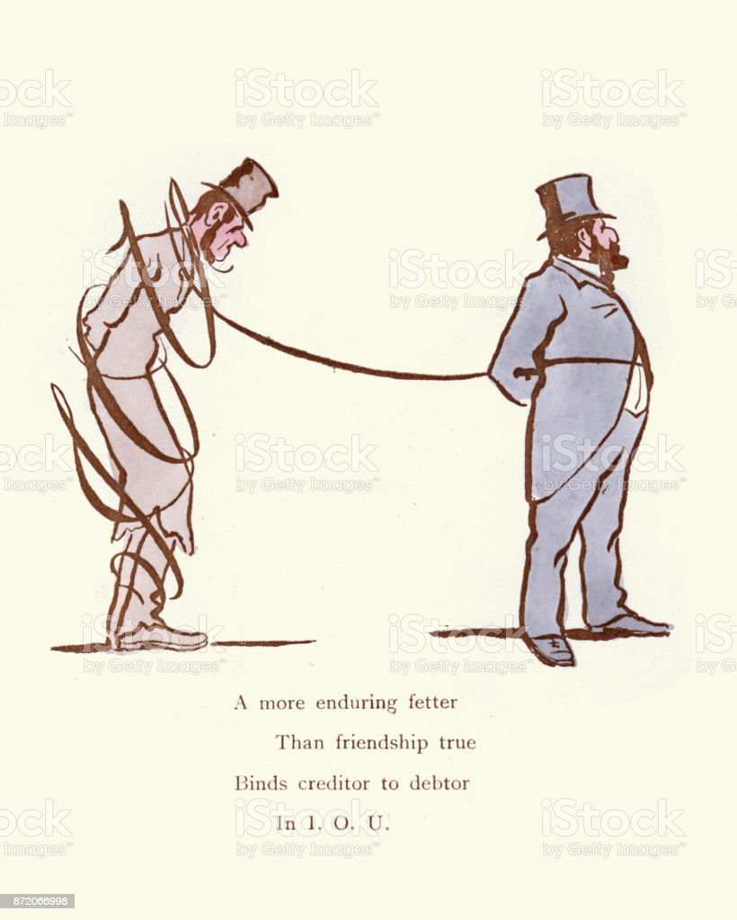 Victorian satirical cartoon Creditor and Debtor vector art illustration