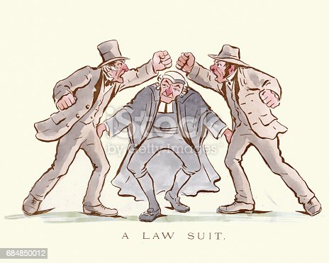 Vintage engraving of a victorian satirical cartoon. A Law Suit as a boxing match