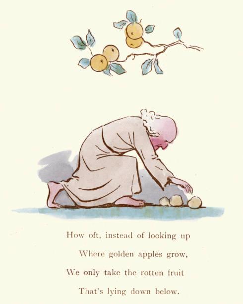 victorian satirical cartoon - where golden apples grow - rotten apple stock illustrations, clip art, cartoons, & icons