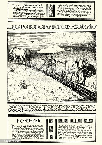 Vintage engraving of a scene from the mouth of November, Farmers Tilling a field. 19th Century