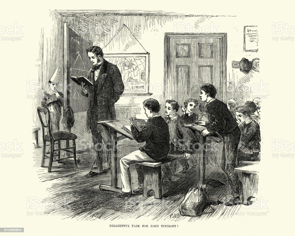 Victorian schoolboys and teacher learning in the classroom, 19th Century - ilustração de arte em vetor