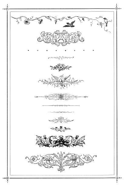 Victorian scrolls on white vector art illustration