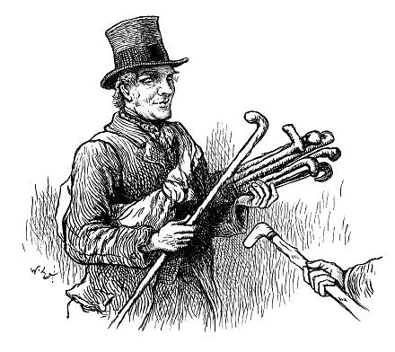 Victorian seller of walking sticks