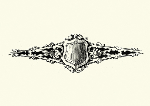 Victorian shield motif, 1850s