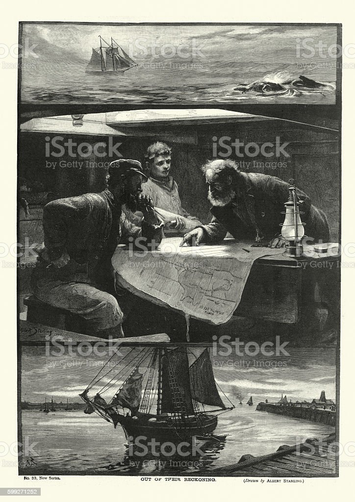 Victorian ships captain and navigator planning their voyage 1894 vector art illustration