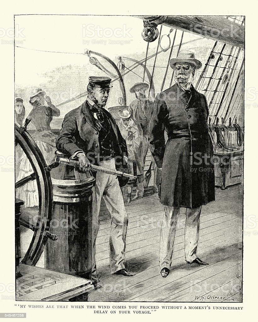 Victorian ships captain and passenger vector art illustration