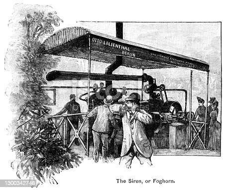 "A ship's foghorn, or siren, sounding loudly as a passenger passes by - he holds his hands to his ears in horror. Otto Lilienthal, named on the canopy, was a 19th century German aeronautical experimental engineer who founded a factory in which he made sirens, boilers, iron pulleys etc before moving on to design an early type of  flying machine. From ""The Cottager and Artisan, 1889"" published by The Religious Tract Society, London."