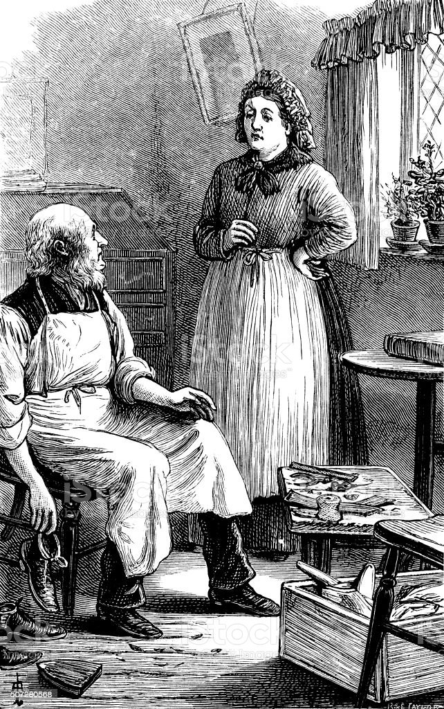 """Victorian shoemaker talking to a woman An elderly shoemaker or shoe mender sitting at his work and talking with a woman. From """"The Cottager and Artisan"""" for 1891, published by The Religious Tract Society, London, with illustrations by various artists. 19th Century stock illustration"""