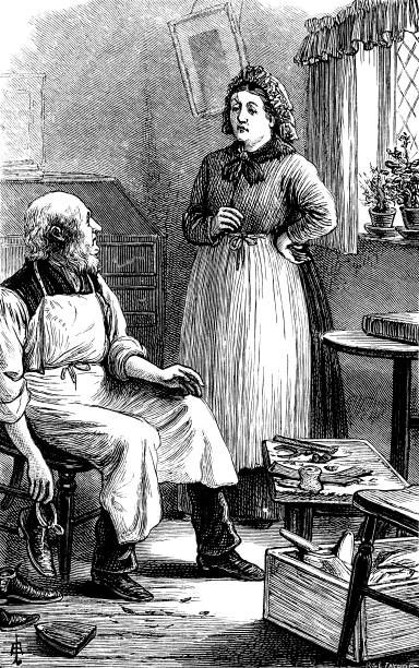 victorian shoemaker talking to a woman - old man shoes stock illustrations, clip art, cartoons, & icons