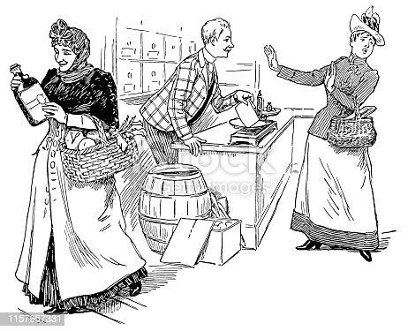 Illustration of a Victorian Shop