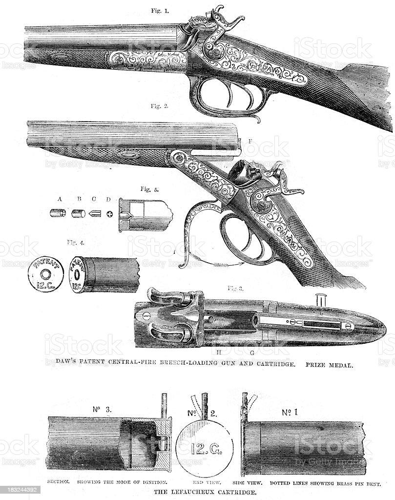 Victorian Shot Gun Detail vector art illustration
