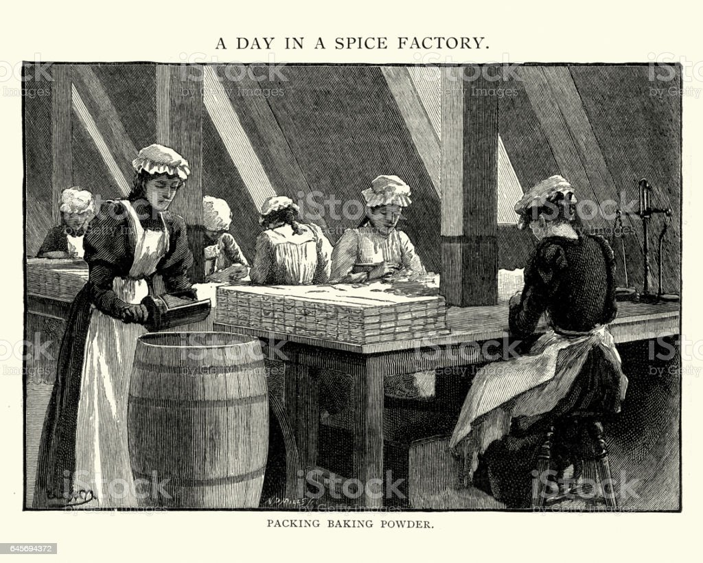 Victorian spice factory, women pacling baking powder vector art illustration