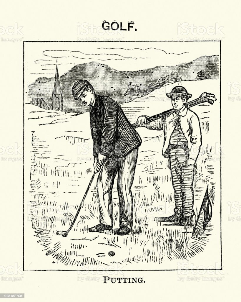 Vintage engraving of Victorian sport, Golf, Man Putting a ball