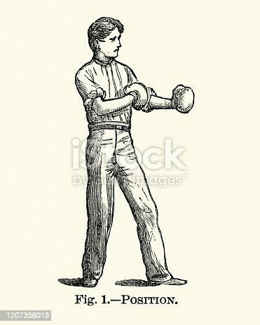 Vintage engraving of Victorian sports, Boxing, Man wearing boxing gloves, 19th Century.