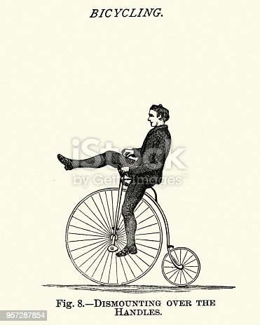 Vintage engraving of Victorian Sports, Cycling, Riding a penny farthing bike, 19th Century.  Dismounting over the handles