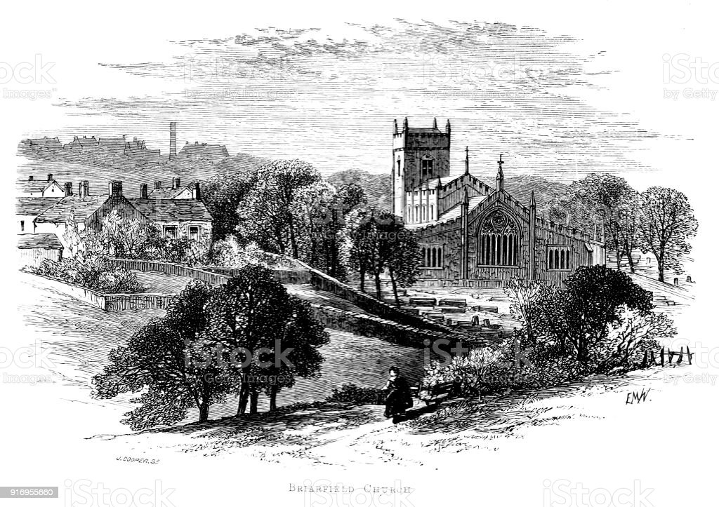Victorian story illustration;Briarfield church in Charlotte's Shirley; based on Birstall Church  yorkshireShirly vector art illustration