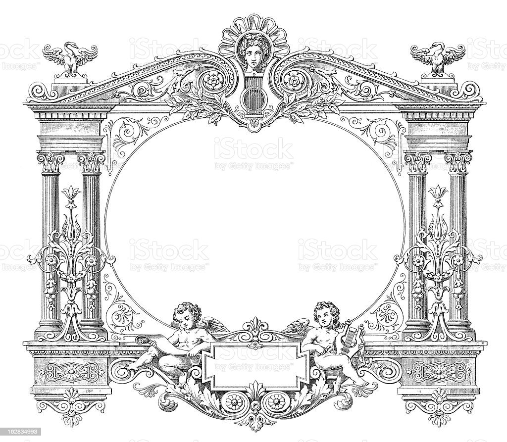 victorian style musical frame antique engraving xxxl royalty free stock vector art - Engraved Picture Frame