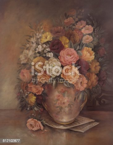 Victorian Style Original Oil Painting Flowers In Vase