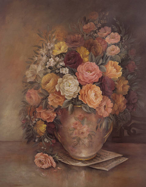 victorian style original oil painting flowers in vase - oil painting stock illustrations