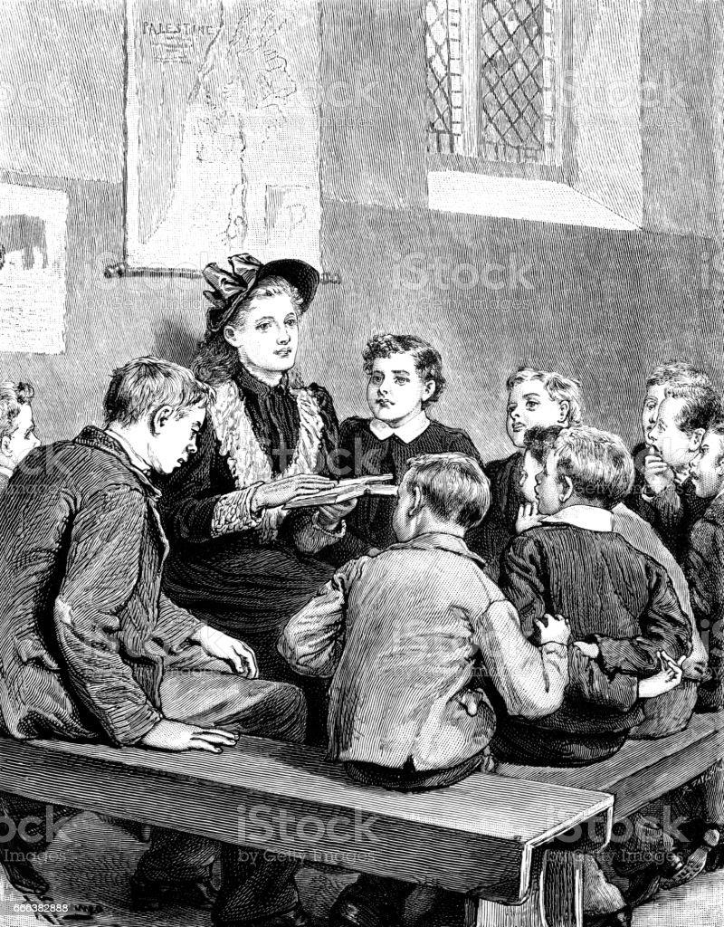 Victorian Sunday School teacher and pupils vector art illustration