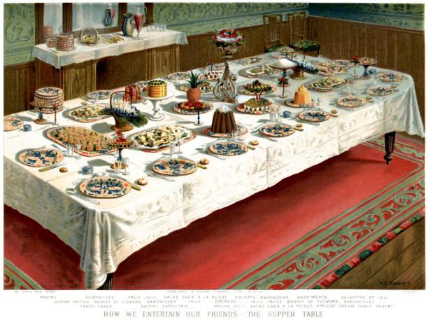 illustrazioni stock, clip art, cartoni animati e icone di tendenza di victorian cena tavolo - tavola imbandita