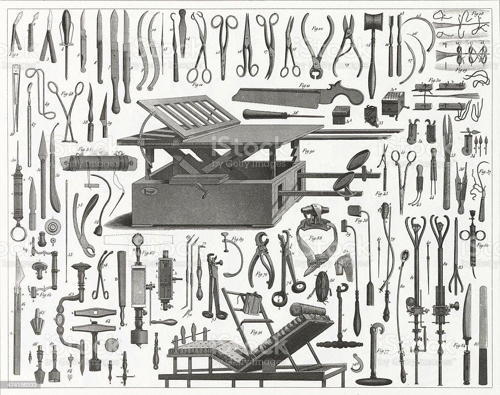 Victorian Equipamento Cirúrgico - ilustração de arte em vetor