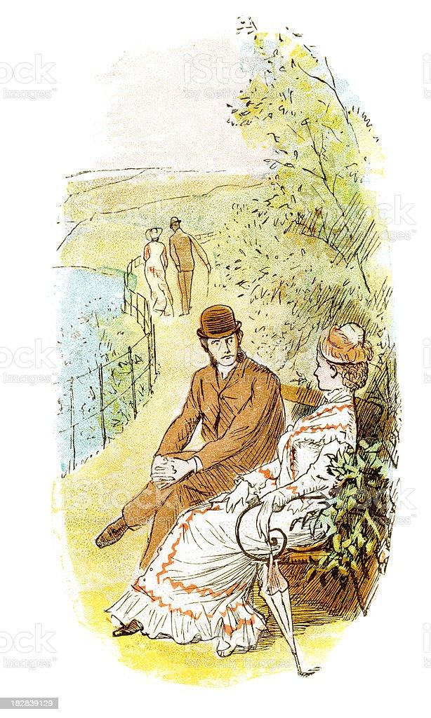 Victorian Sweethearts royalty-free stock vector art