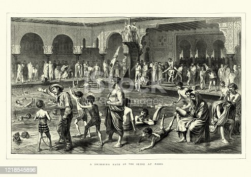 Vintage engraving of a scene at a Victorian swimming pool on the Seine, Paris, France. Children learning to swim, young men using a drive platform, 1872