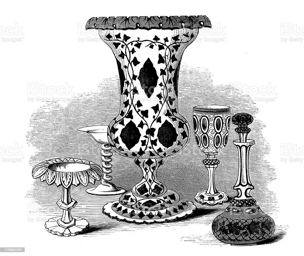 Victorian Tableware Set | Antique Design Illustrations royalty-free stock vector art