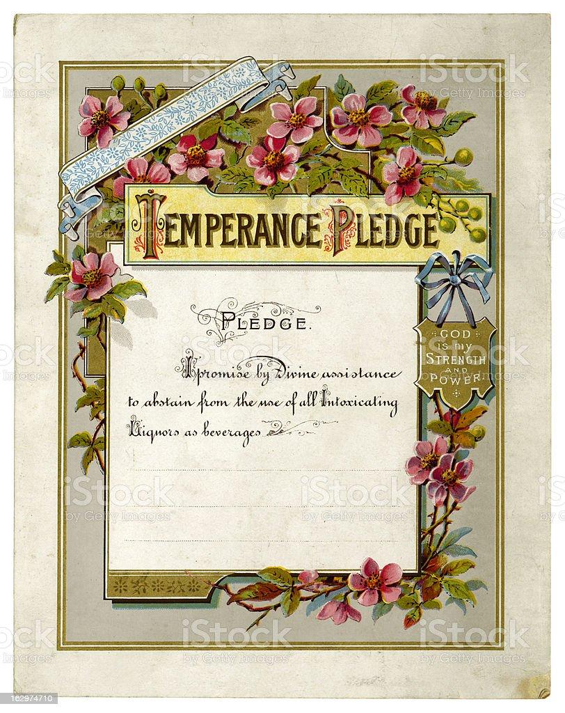 Victorian temperance pledge certificate vector art illustration