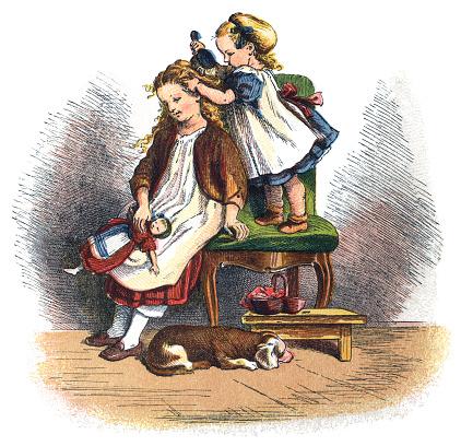Victorian toddler brushing her older sister's hair