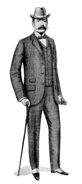 ilustraciones, imágenes clip art, dibujos animados e iconos de stock de victorian tweed traje - moda de hombre