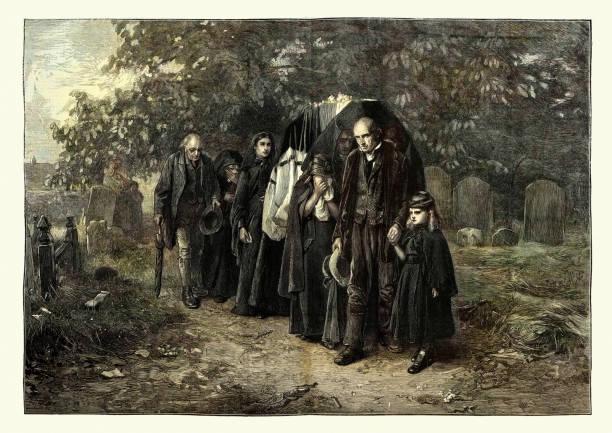 stockillustraties, clipart, cartoons en iconen met victoriaanse village funeral, greaving familie leidt doodskist naar het graf - funeral crying