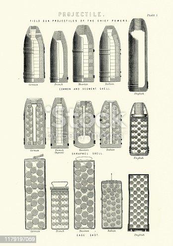 Vintage engraving of Victorian weapons, Ammunition, Artillery shells, 19th Century.  Common and segment shells, Shrapnel shells, Case shot