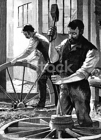 "Two 19th century wheelwrights at work producing wheels for horse drawn vehicles. From ""The Cottager and Artisan"" for 1891, published by The Religious Tract Society, London, with illustrations by various artists."