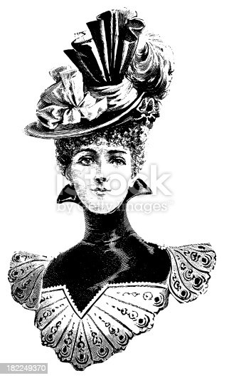 Victorian Woman Antique Design Illustrations Stock Vector