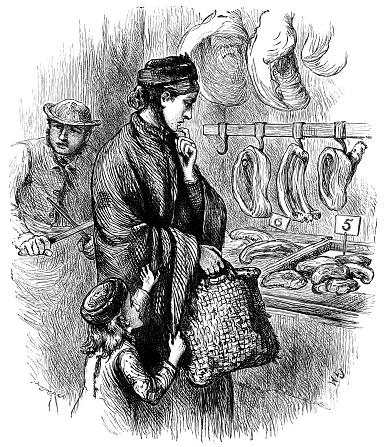 Victorian woman choosing meat in a butcher's shop