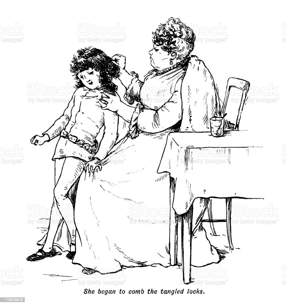 Victorian woman combing a reluctant boy's tangled hair royalty-free stock vector art