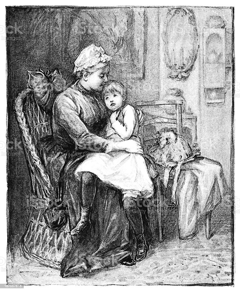 Victorian woman cuddling a child royalty-free victorian woman cuddling a child stock vector art & more images of 1890-1899