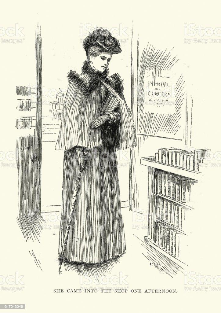 Victorian woman in a book shop vector art illustration
