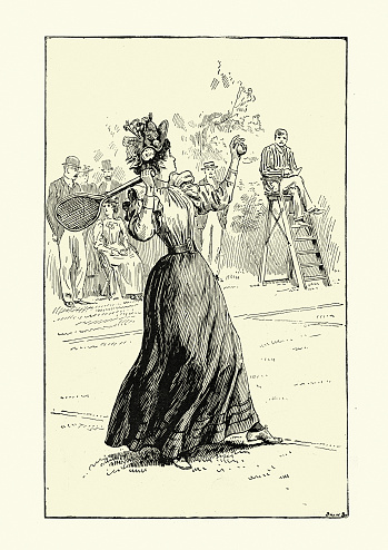 Victorian woman playing a game of tennis, 19th Century