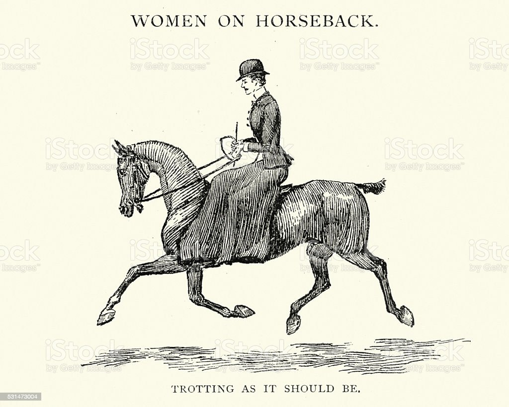 Victorian woman riding a horse sidesaddle vector art illustration