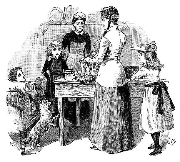 Victorian woman unpacking her basket in the kitchen - Illustration vectorielle