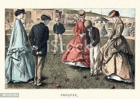 Vintage woodcut illustration of Victorian women and men playing croquet. 19th Century